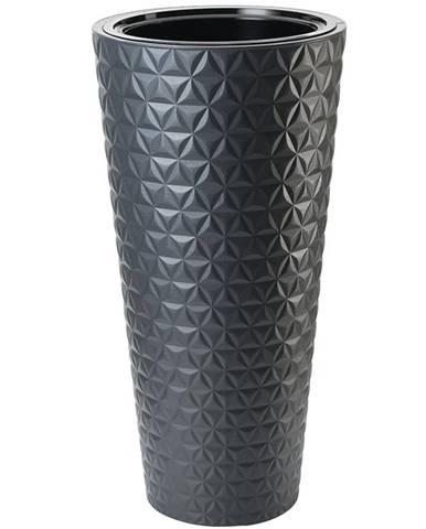 Kvetináč Diamond Slim s vložkou 30 cm čierna
