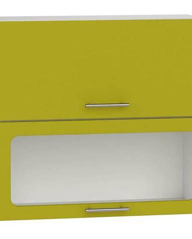 Skrinka do kuchyne Hana zelený lesk/biela W80 GRF/2 SD BB