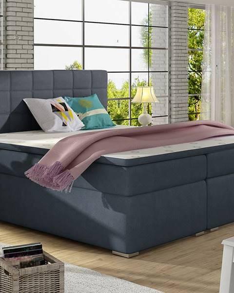 NABBI Anzia 160 čalúnená manželská posteľ s úložným priestorom modrá