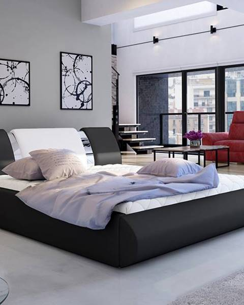 NABBI Folino 180 čalúnená manželská posteľ s roštom čierna