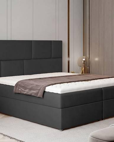 Ferine 185 čalúnená manželská posteľ s úložným priestorom čierna (Monolith 97)