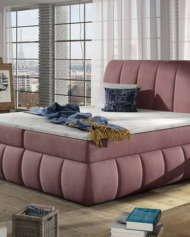 Vareso 180 čalúnená manželská posteľ s úložným priestorom tmavoružová