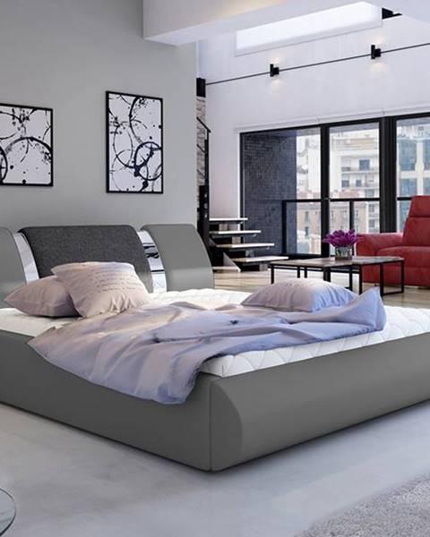 NABBI Folino 140 čalúnená manželská posteľ s roštom sivá