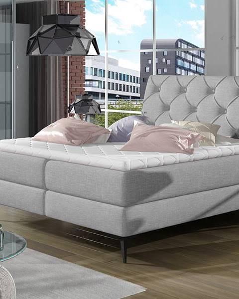 NABBI Lazio 180 čalúnená manželská posteľ s úložným priestorom svetlosivá