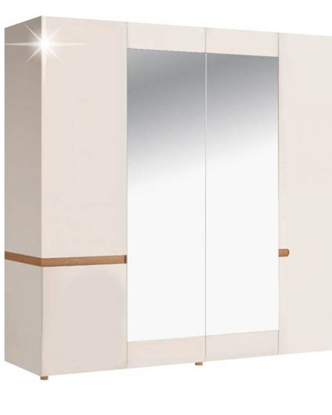 Kondela Lynatet 23 šatníková skriňa so zrkadlom biela