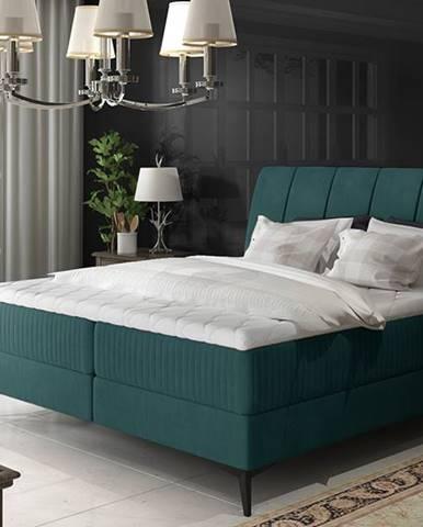 Altama 140 čalúnená manželská posteľ s úložným priestorom tyrkysová