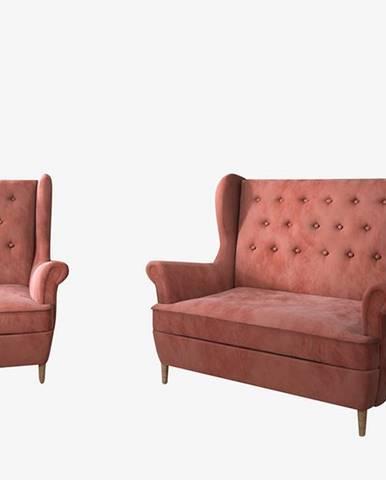 Aveiro 2+1 sedacia súprava ružová