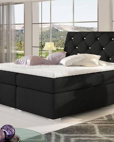 Beneto 180 čalúnená manželská posteľ s úložným priestorom čierna (Sawana 14)