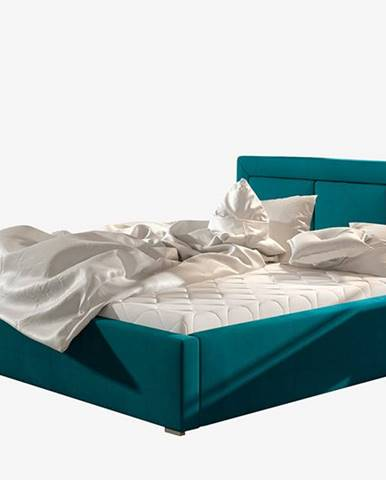 Branco UP 140 čalúnená manželská posteľ s roštom tyrkysová