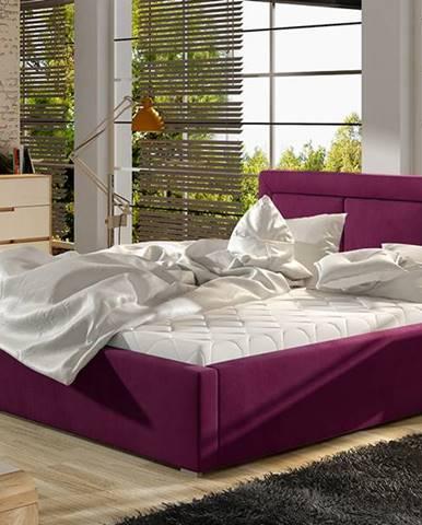 Branco UP 180 čalúnená manželská posteľ s roštom vínová