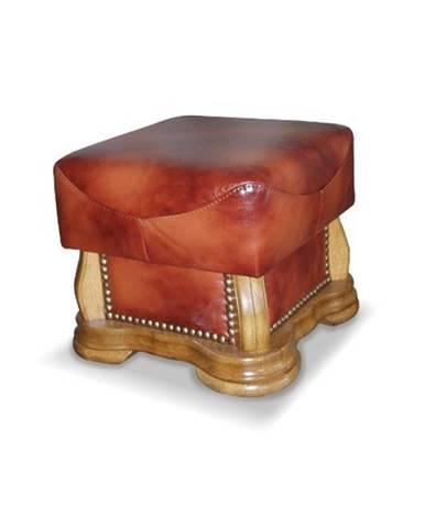 Cheverny kožená taburetka drevo D3