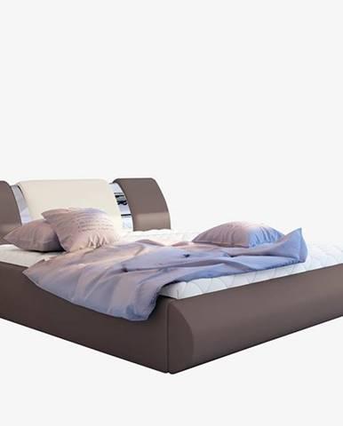 Folino 180 čalúnená manželská posteľ s roštom hnedá