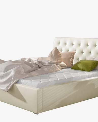 Monzo UP 140 čalúnená manželská posteľ s roštom béžová