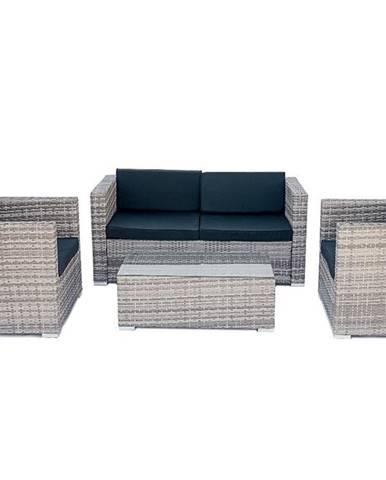 Quattro záhradný nábytok z umelého ratanu sivá