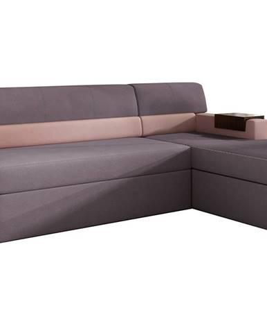 Rieti P rohová sedačka s rozkladom a úložným priestorom fialová