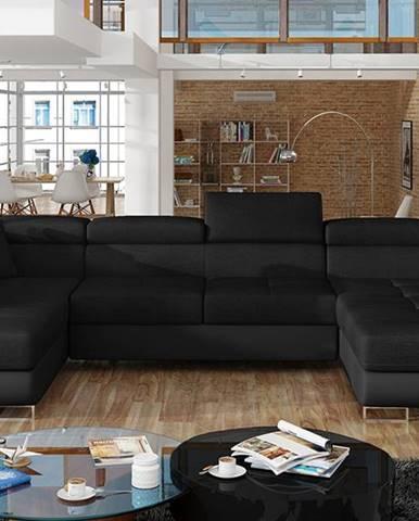 Rossano U L rohová sedačka u s rozkladom čierna (Sawana 14)