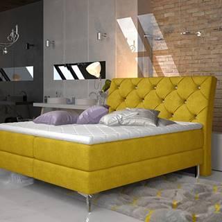 Amika 160 čalúnená manželská posteľ s úložným priestorom žltá