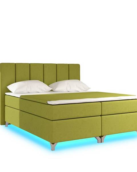 NABBI Barino 160 čalúnená manželská posteľ s úložným priestorom zelená