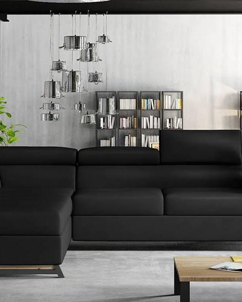 NABBI Korense L rohová sedačka s rozkladom a úložným priestorom čierna (Soft 11)