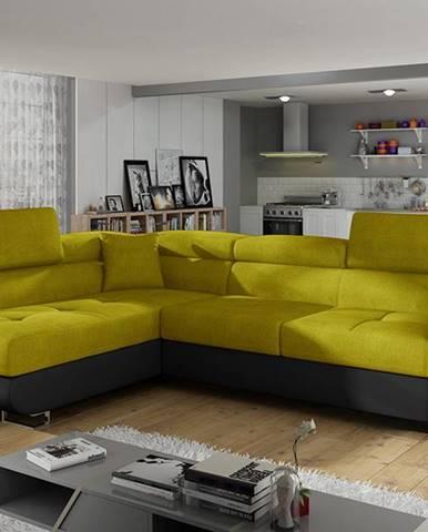 Almero L rohová sedačka s rozkladom a úložným priestorom žltá