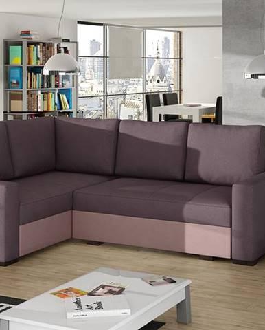 Castelo L rohová sedačka s rozkladom a úložným priestorom fialová