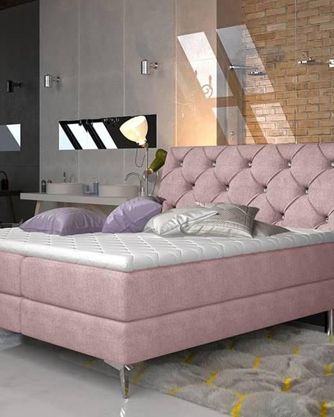 NABBI Amika 140 čalúnená manželská posteľ s úložným priestorom ružová (Omega 91)