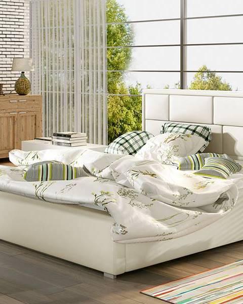 NABBI Liza 180 čalúnená manželská posteľ s roštom béžová