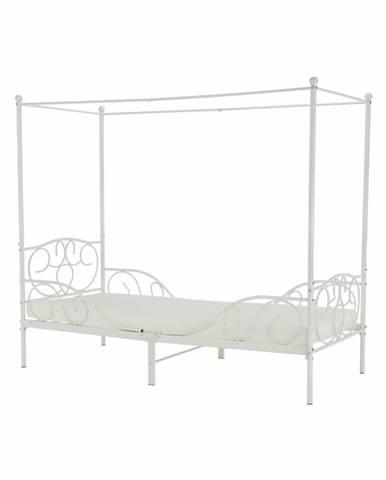 Adelisa kovová jednolôžková posteľ s roštom biela