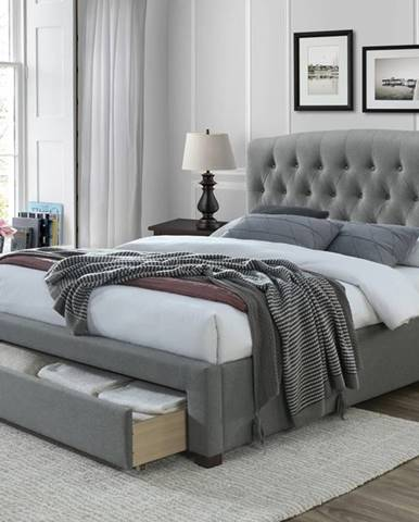 Avanti 160 čalúnená manželská posteľ s úložným priestorom sivá