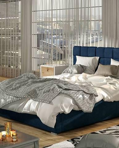 Galimo 200 čalúnená manželská posteľ s roštom tmavomodrá