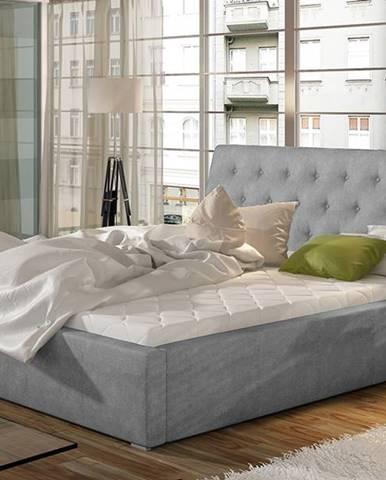 Monzo 180 čalúnená manželská posteľ s roštom svetlosivá (Paros 05)