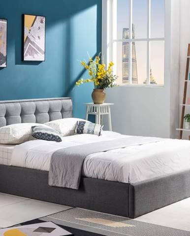 Padva 160 čalúnená manželská posteľ s roštom sivá
