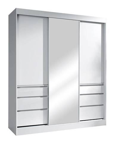 Romualda 180 šatníková skriňa s posuvnými dverami a zrkadlom biela