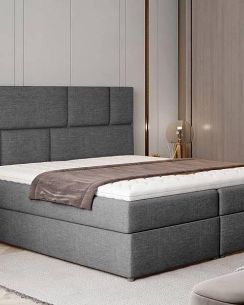 NABBI Ferine 185 čalúnená manželská posteľ s úložným priestorom sivá (Sawana 05)