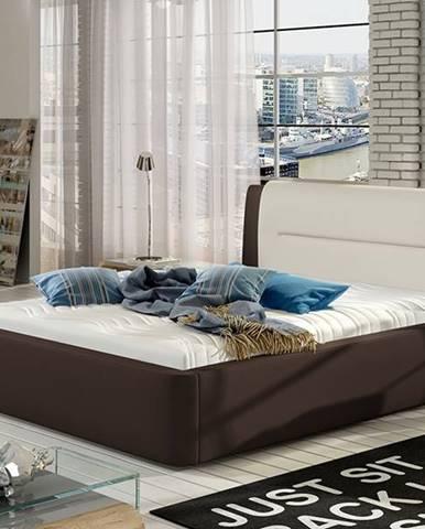 Portima 180 čalúnená manželská posteľ tmavohnedá (Soft 66)