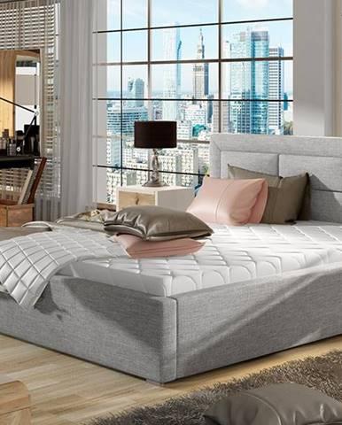 Rovigo 140 čalúnená manželská posteľ s roštom svetlosivá (Sawana 21)