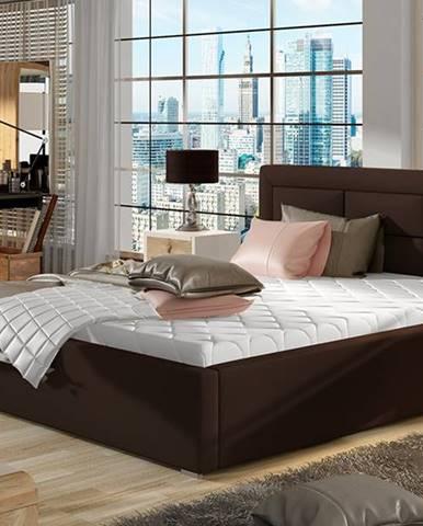 Rovigo UP 180 čalúnená manželská posteľ s roštom tmavohnedá (Soft 66)