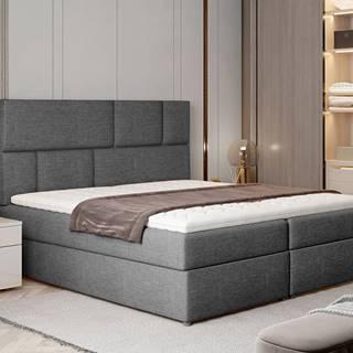 Ferine 185 čalúnená manželská posteľ s úložným priestorom sivá (Sawana 05)