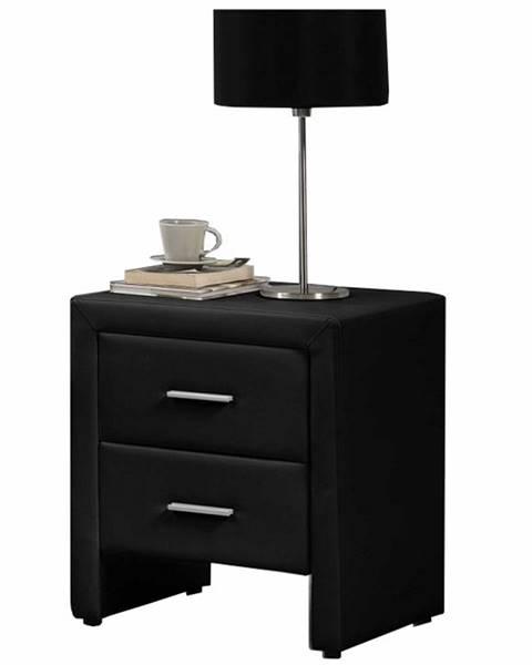 Kondela Castel čalúnený nočný stolík čierna