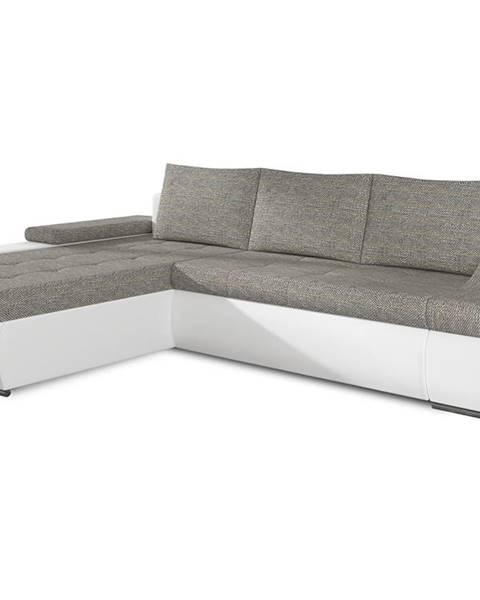 NABBI Oristano L rohová sedačka s rozkladom a úložným priestorom sivá