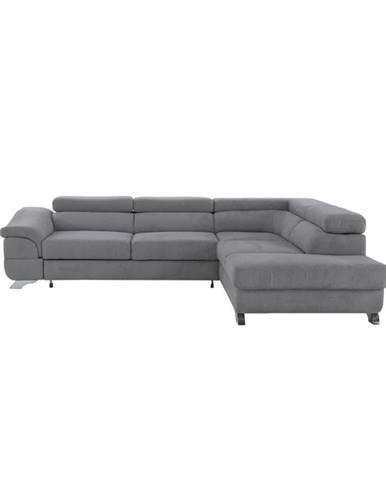 Legas P rohová sedačka s rozkladom a úložným priestorom sivá