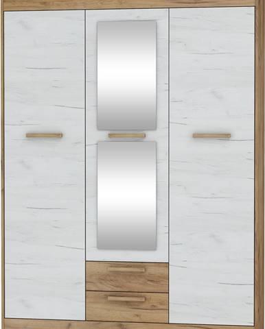 Maximus MXS-05 3D šatníková skriňa so zrkadlom craft zlatý
