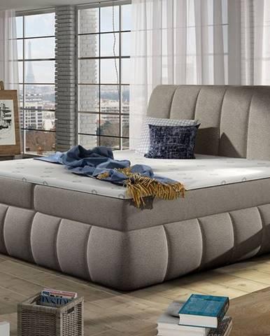 Vareso 180 čalúnená manželská posteľ s úložným priestorom svetlohnedá (Dora 22)