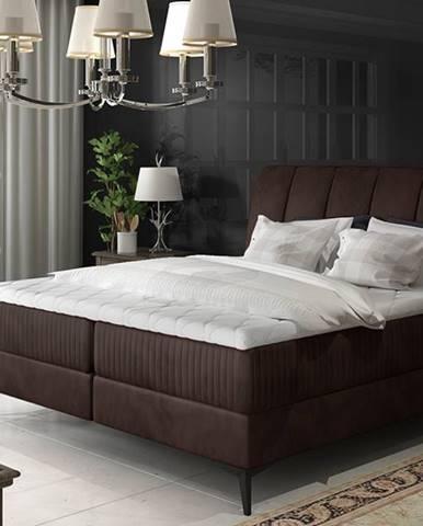 Altama 160 čalúnená manželská posteľ s úložným priestorom tmavohnedá