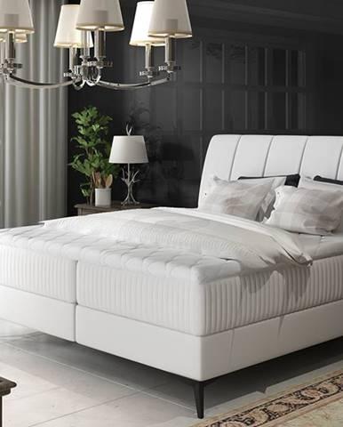 Altama 180 čalúnená manželská posteľ s úložným priestorom biela
