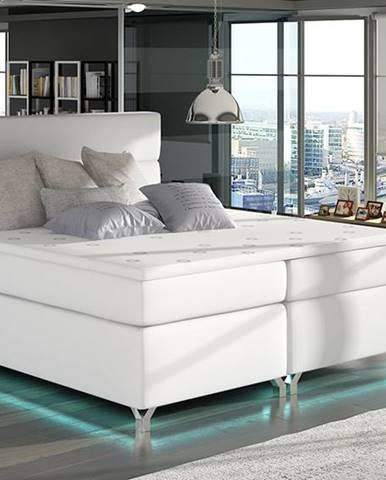 Avellino 140 čalúnená manželská posteľ s úložným priestorom biela