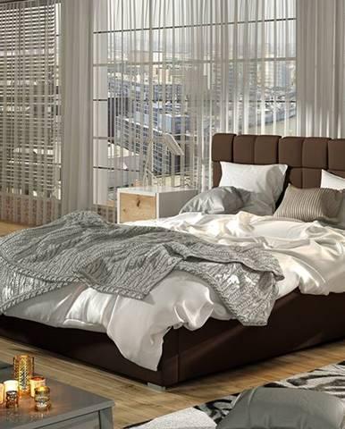 Galimo 160 čalúnená manželská posteľ s roštom tmavohnedá