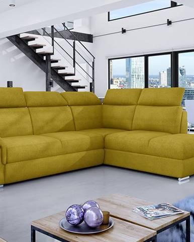 Leren P rohová sedačka s rozkladom a úložným priestorom žltá
