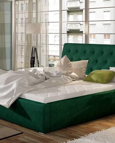 Monzo UP 160 čalúnená manželská posteľ s roštom tmavozelená