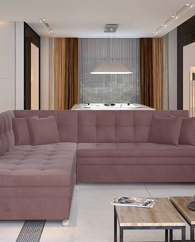 Pescara L rohová sedačka s rozkladom ružová (Velvet Mat 63)